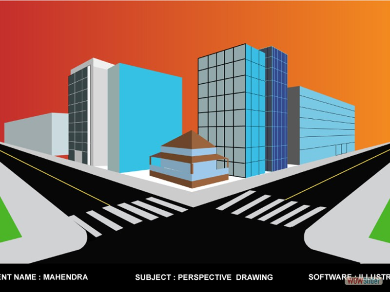 Name: Mahendra,            Subject: Perspective Drawing,             Software:  ILLUSTRATOR